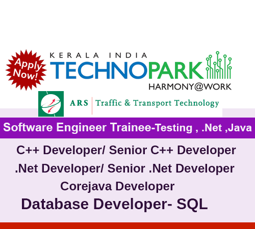 Hiring Software Engineer Trainee and experienced candidates , ARS Traffic & Transport Technology India Private Limited Technopark