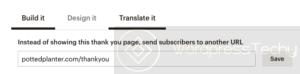 mailchimp -thankyou custom page redirect