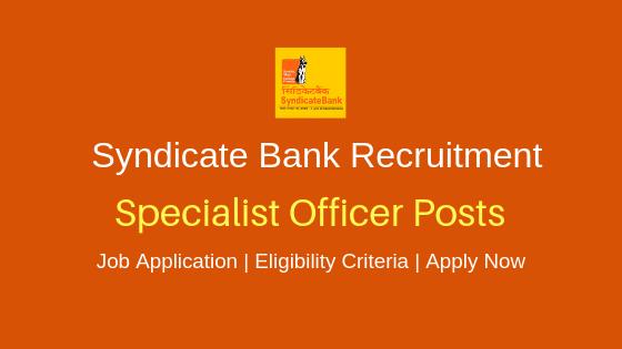 Syndicate bank 2019 recruitment